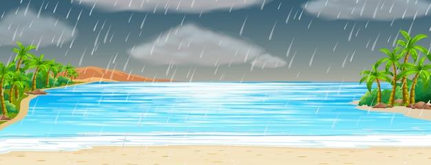 Scena dell'oceano con tempesta di pioggia