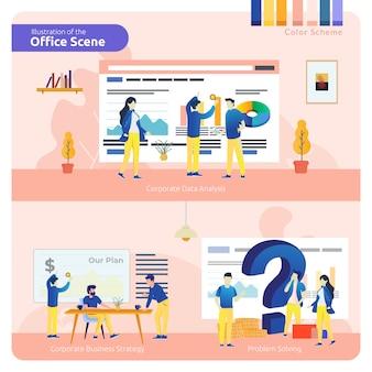 Scena dell'ufficio in set di pacchetti, analisi dei dati aziendali, strategia e risoluzione dei problemi
