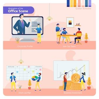 Scena dell'ufficio nel set di pacchetto, profilo aziendale, unirsi al team e piano di lavoro o investimento aziendale