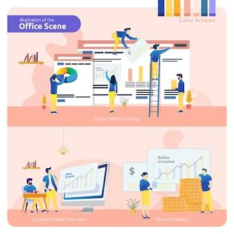 Scena dell'ufficio nel set di pacchetto, strategia dei media digitali, panoramica delle vendite aziendali e relazione finanziaria