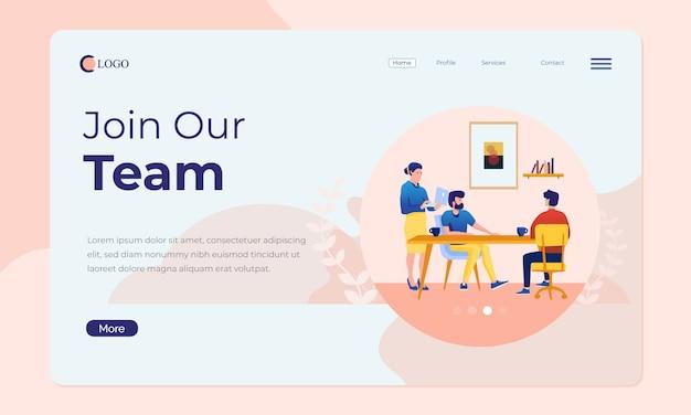Scena dell'ufficio per landing page o banner web