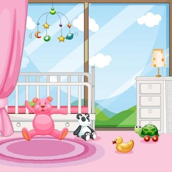 Scena della camera da letto con culla e bambole
