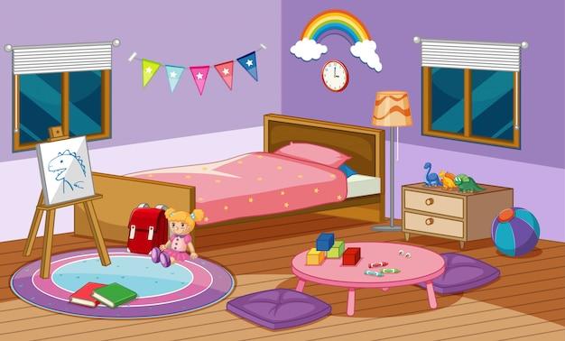 Scena della camera da letto con letto e molti giocattoli nella stanza