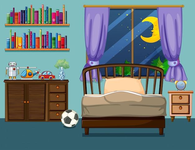 Scena della camera da letto con libri e giocattoli