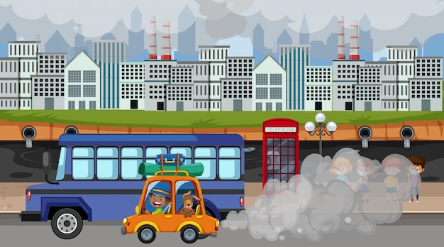 Scena della città con automobili e fabbriche che producono fumo