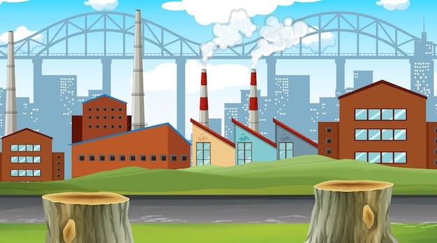 Scena della città fabbrica