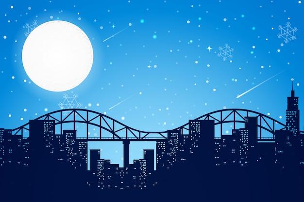 Scena della città notturna