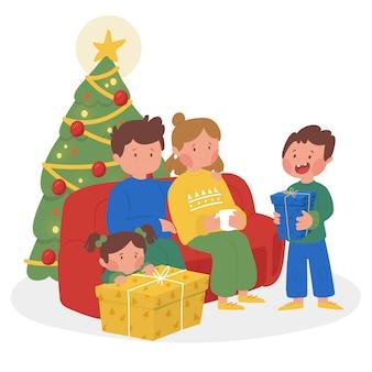 Scena della famiglia disegnata a mano con l'albero di natale