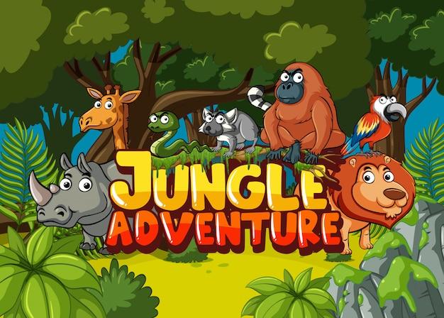 Scena della foresta con avventura nella giungla di parola e animali selvatici