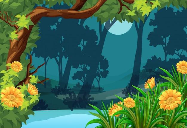 Scena della foresta con fiori e luna
