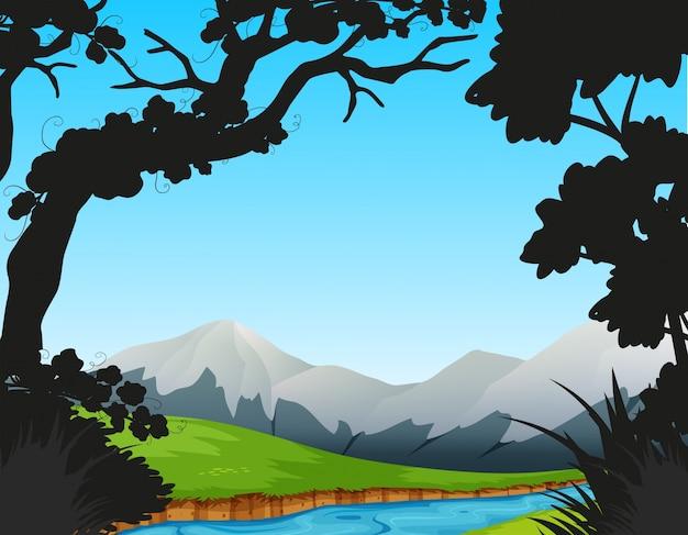 Scena della foresta con fiume e montagne