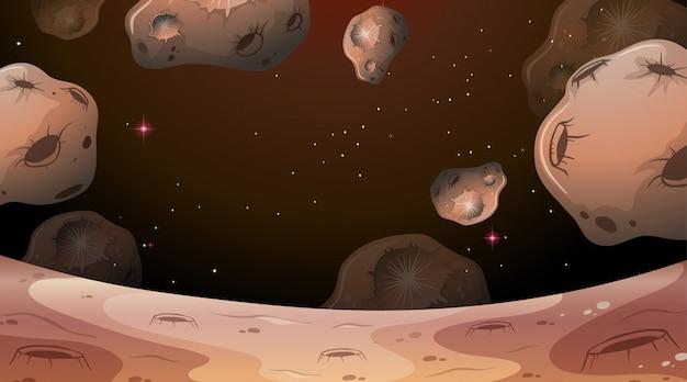 Scena della luna con sfondo di asteroidi