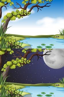 Scena della natura al giorno e alla notte
