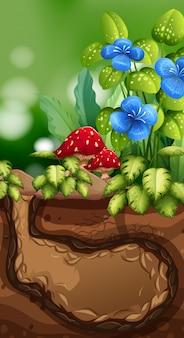 Scena della natura con buco sotterraneo e fiori