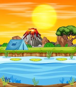 Scena della natura con campeggio sul lago
