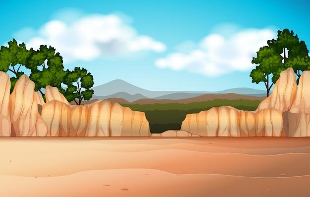 Scena della natura con campo deserto e canyon