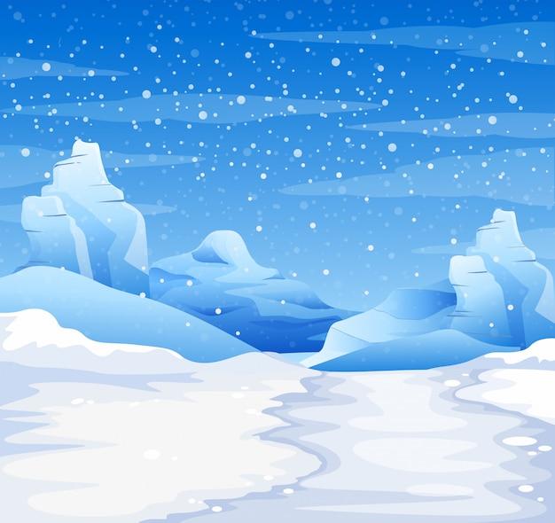 Scena della natura con la neve che cade a terra