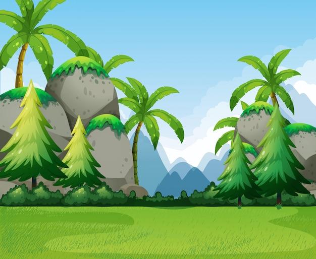 Scena della natura con montagne e alberi