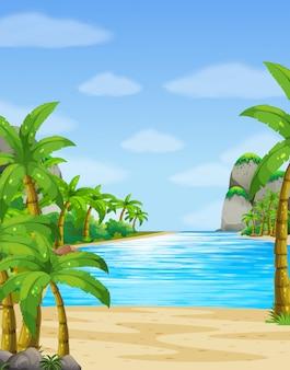 Scena della natura con sfondo oceano