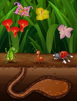 Scena della natura con un formicaio e alcuni insetti