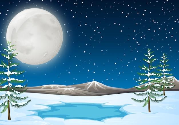 Scena della neve con laghetto