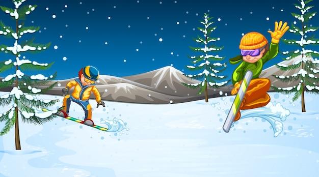 Scena della priorità bassa con gli atleti che fanno gli sport invernali