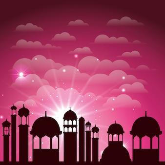 Scena della siluetta di paesaggio urbano di ramadan kareem
