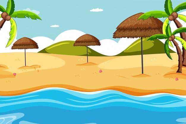 Scena della spiaggia con l'oggetto della natura della spiaggia