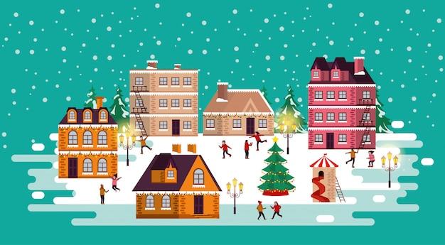 Scena della via di inverno di natale con la gente felice
