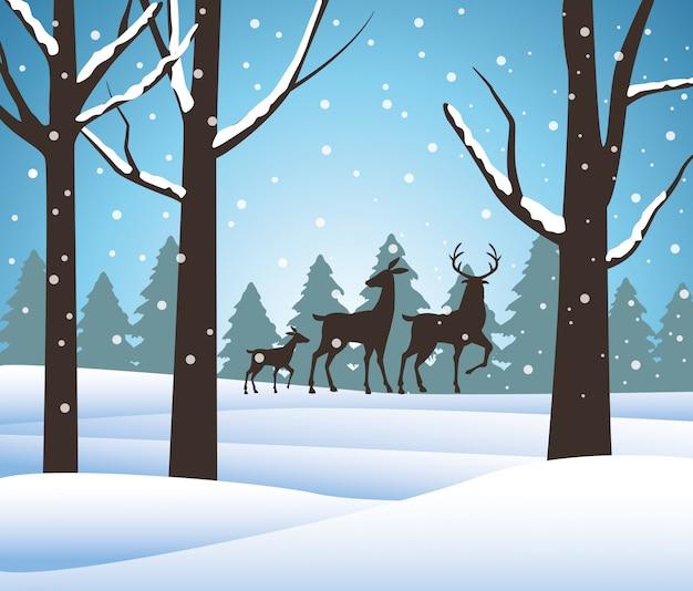 Scena dello snowscape della foresta con progettazione dell'illustrazione di vettore delle siluette della renna