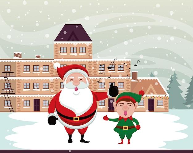 Scena dello snowscape di natale con il babbo natale e l'elfo