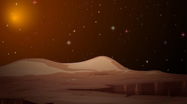 Scena dello spazio paesaggistico di marte