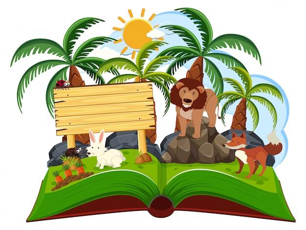 Scena di animali giungla pop-up libri