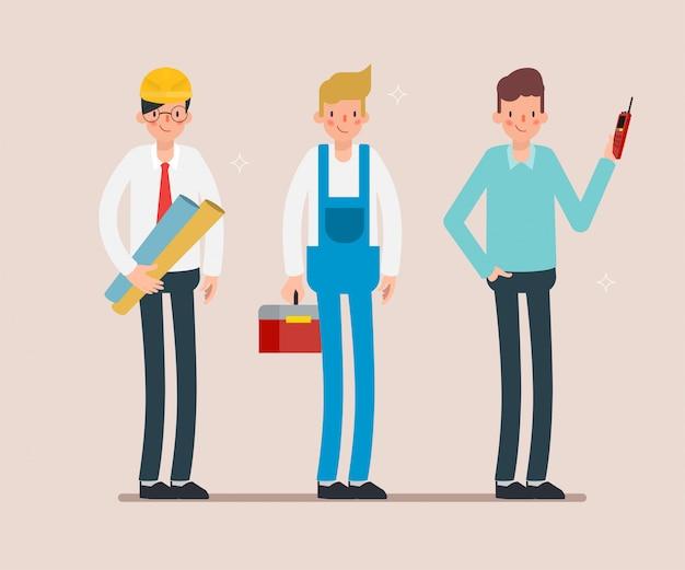 Scena di animazione del carattere di industria di lavoro di squadra dell'ingegnere.