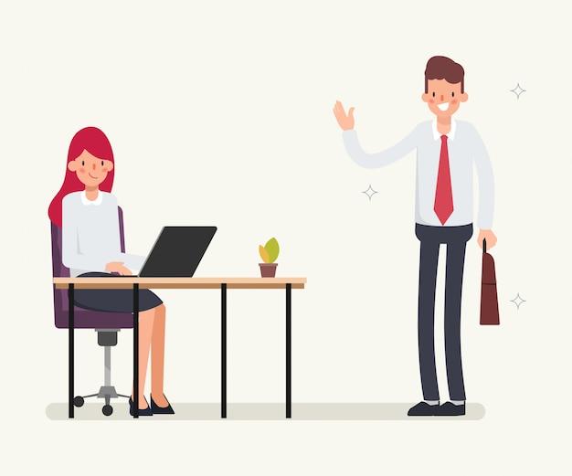 Scena di animazione per la gente di affari collega.