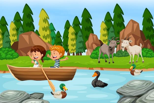 Scena di boschi con bambini e animali