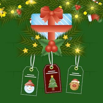 Scena di buon natale con regalo e tag appesi