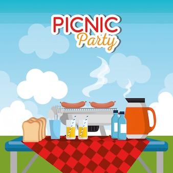 Scena di celebrazione della festa picnic