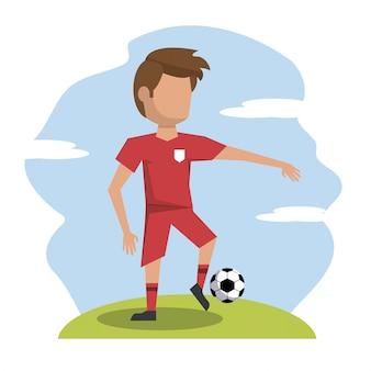 Scena di colore con giocatore di football senza volto atleta
