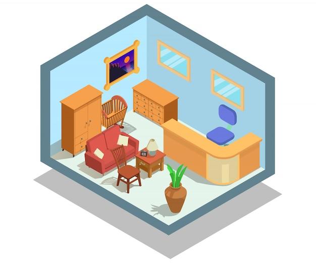 Scena di concetto di mobili per negozi