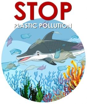 Scena di controllo dell'inquinamento con delfini e sacchetti di plastica