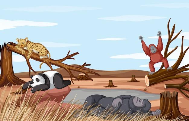 Scena di deforestazione con animali che muoiono di siccità