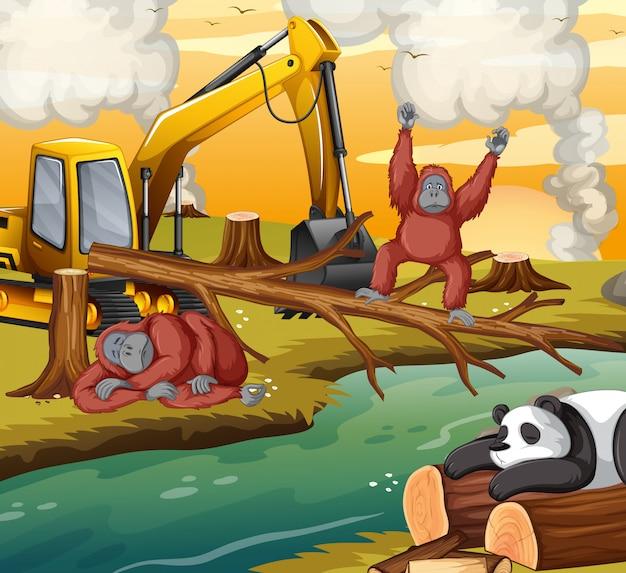 Scena di deforestazione con animali che muoiono