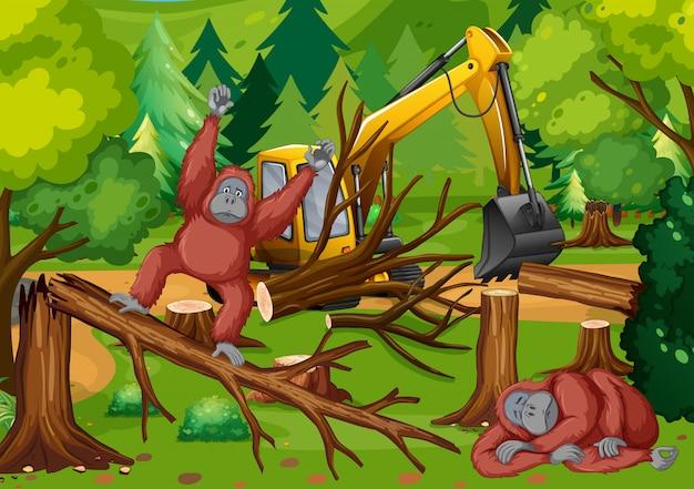 Scena di deforestazione con scimmia e trattore