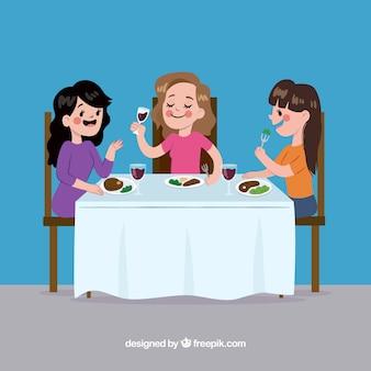 Scena di donne che mangiano in un ristorante