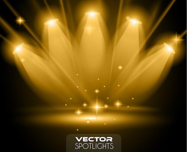 Scena di faretti di vettore con diversa sorgente luminosa che punta verso il pavimento
