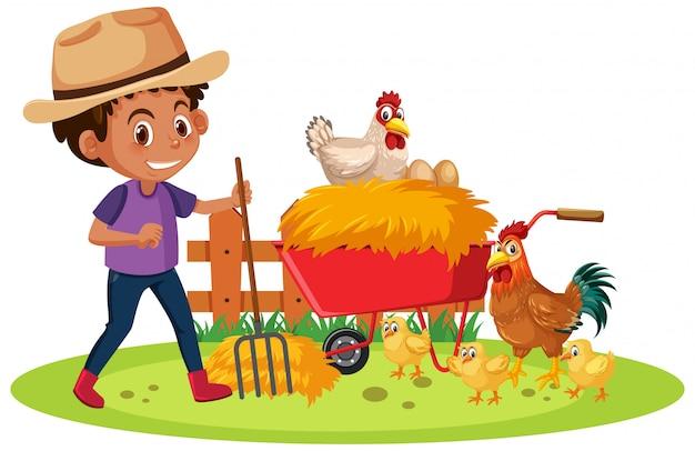 Scena di fattoria con farmboy e molti polli