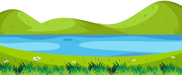 Scena di fiume in primo piano della natura