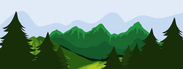 Scena di foresta e montagna