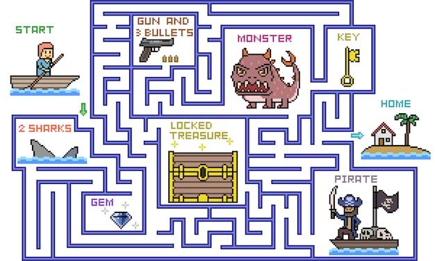 Scena di gioco di avventura di pixel art labirinto top